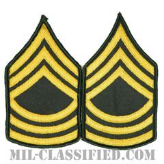 曹長(Master Sergeant (MSG))[カラー(グリーン)/メロウエッジ/階級章(男性用)/パッチ/ペア(2枚1組)]の画像