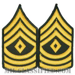 先任曹長(First Sergeant (1SG))[カラー(グリーン)/メロウエッジ/階級章(男性用)/パッチ/ペア(2枚1組)]の画像