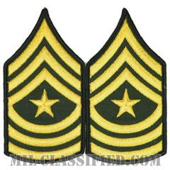 上級曹長(Sergeant Major (SGM))[カラー(グリーン)/メロウエッジ/階級章(男性用)/パッチ/ペア(2枚1組)]の画像