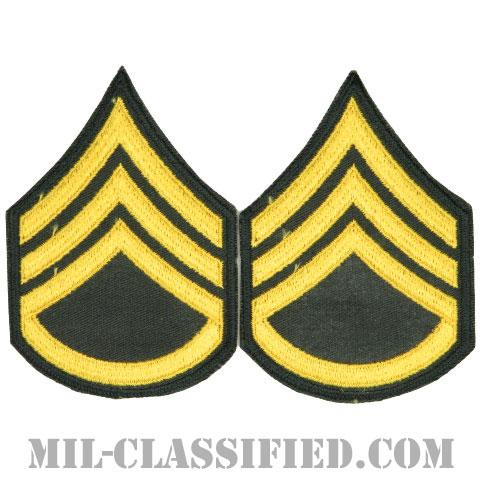 二等軍曹(Staff Sergeant (SSG))[カラー/カットエッジ/階級章(1959-)/パッチ/ペア(2枚1組)]