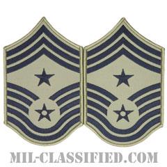 部隊先任最上級曹長(Command Chief Master Sergeant)[ABU/メロウエッジ/空軍階級章/Large(男性用)/パッチ/ペア(2枚1組)]の画像