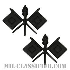 通信科章(Signal Corps)[サブデュード(ブラックメタル)/兵科章/バッジ/ペア(2個1組)]の画像