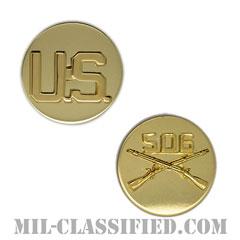 第506歩兵連隊歩兵科章(506th Infantry Regiment and U.S. Letters)[カラー/兵科章U.S.章セット(下士官用)/バッジ/ペア(2個1組)]の画像