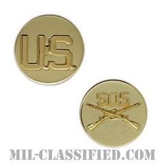 第505歩兵連隊歩兵科章(505th Infantry Regiment and U.S. Letters)[カラー/兵科章U.S.章セット(下士官用)/バッジ/ペア(2個1組)]の画像