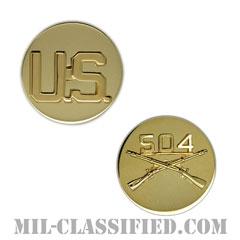 第504歩兵連隊歩兵科章(504th Infantry Regiment and U.S. Letters)[カラー/兵科章U.S.章セット(下士官用)/バッジ/ペア(2個1組)]の画像
