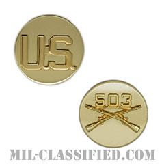 第503歩兵連隊歩兵科章(503rd Infantry Regiment and U.S. Letters)[カラー/兵科章U.S.章セット(下士官用)/バッジ/ペア(2個1組)]の画像