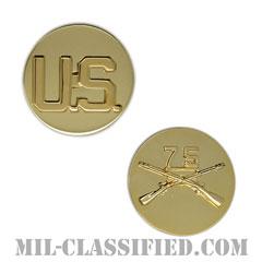 第75レンジャー連隊歩兵科章(75th Ranger Regiment and U.S. Letters)[カラー/兵科章U.S.章セット(下士官用)/バッジ/ペア(2個1組)]の画像