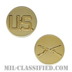 歩兵科章(Infantry Branch and U.S. Letters)[カラー/兵科章U.S.章セット(下士官用)/バッジ/ペア(2個1組)]の画像