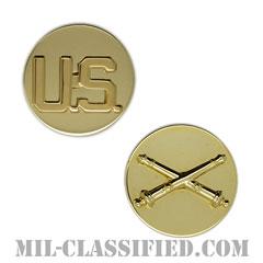 砲兵科章(Field Artillery Branch and U.S. Letters)[カラー/兵科章U.S.章セット(下士官用)/バッジ/ペア(2個1組)]の画像