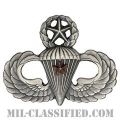 戦闘空挺章 (マスター) 降下1回(Combat Parachutist Badge, Master, One Jump)[カラー/燻し銀/バッジ]の画像