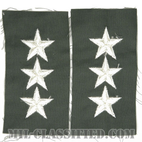 中将(Lieutenant General (LTG))[カラー/空軍セージグリーン生地/階級章/ペア(2枚1組)]の画像