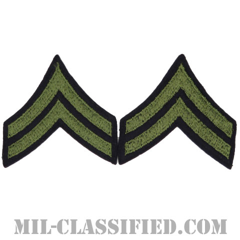 伍長(Corporal (CPL))[ウール・フェルト生地刺繍タイプ/階級章(1942-1948)/パッチ/ペア(2枚1組)/中古1点物]の画像