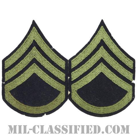 二等軍曹(Staff Sergeant (SSG))[ウール・フェルト生地刺繍タイプ/階級章(1942-1948)/パッチ/ペア(2枚1組)/中古1点物]の画像