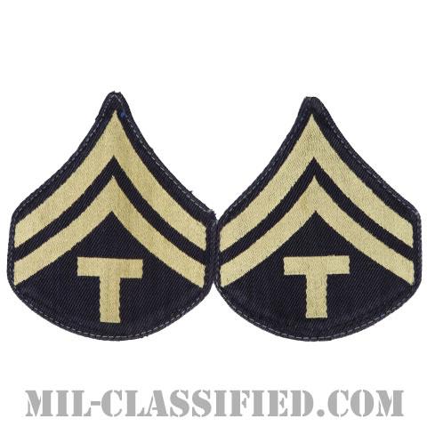 技術軍曹 (T/5)(Technician 5th Grade)[機械織りタイプ/階級章(1942-1948)/パッチ/ペア(2枚1組)/中古1点物]の画像
