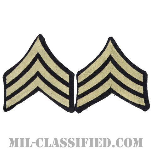 軍曹(Sergeant (SGT))[機械織りタイプ/階級章(1942-1948)/パッチ/ペア(2枚1組)/中古1点物]の画像