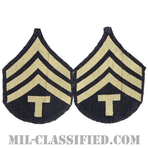 技術軍曹 (T/4)(Technician 4th Grade)[機械織りタイプ/階級章(1942-1948)/パッチ/ペア(2枚1組)/中古1点物]の画像