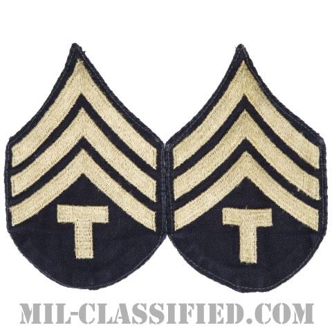 技術軍曹 (T/4)(Technician 4th Grade)[ツイル生地刺繍タイプ/階級章(1942-1948)/パッチ/ペア(2枚1組)/中古1点物]の画像