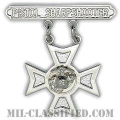 ピストル射撃技術章 (シャープシューター)(Marksmanship Badge, Pistol Sharpshooter)[カラー/鏡面仕上げ/バッジ]の画像