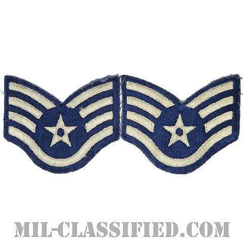 軍曹(Staff Sergeant)[カラー/カットエッジ/空軍階級章/Large(男性用)/パッチ/ペア2枚1組/中古1点物]の画像