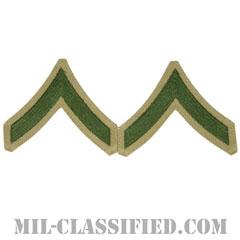 一等兵(Private First (PFC))[グリーン・カーキ/海兵隊階級章/Large(男性用)/パッチ/ペア(2枚1組)]の画像
