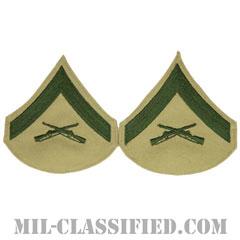 上等兵(Lance Corporal (LCpl))[グリーン・カーキ/海兵隊階級章/Large(男性用)/パッチ/ペア(2枚1組)]の画像