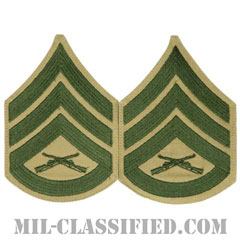 二等軍曹(Staff Sergeant (SSgt))[グリーン・カーキ/海兵隊階級章/Large(男性用)/パッチ/ペア(2枚1組)]の画像