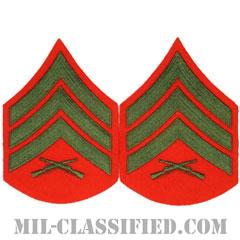軍曹(Sergeant (Sgt))[グリーン・レッド/海兵隊階級章/Large(男性用)/パッチ/ペア(2枚1組)]の画像