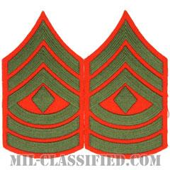 先任曹長(First Sergeant (1stSgt))[グリーン・レッド/海兵隊階級章/Large(男性用)/パッチ/ペア(2枚1組)]の画像