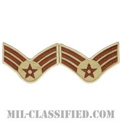上等空兵(Senior Airman)[デザート/メロウエッジ/空軍階級章(1991-)/Large(男性用)/パッチ/ペア(2枚1組)]の画像