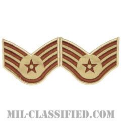 軍曹(Staff Sergeant)[デザート/メロウエッジ/空軍階級章(1991-)/Large(男性用)/パッチ/ペア(2枚1組)]の画像