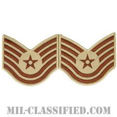 技能軍曹(Technical Sergeant)[デザート/メロウエッジ/空軍階級章(1991-)/Large(男性用)/パッチ/ペア(2枚1組)]の画像