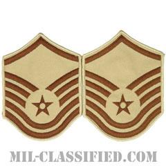 曹長(Master Sergeant)[デザート/メロウエッジ/空軍階級章(1991-)/Large(男性用)/パッチ/ペア(2枚1組)]の画像