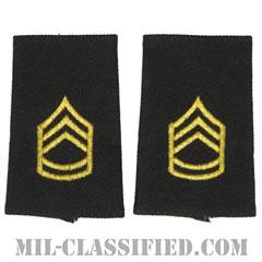一等軍曹(Sergeant First Class (SFC))[ブラック/ショルダー階級章/ショートサイズ肩章/ペア(2枚1組)]の画像