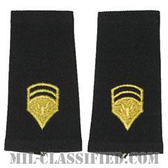 特技兵 (SP6)(Specialist 6)[ブラック/ショルダー階級章/ロングサイズ肩章/1959-1985/ペア(2枚1組)]の画像