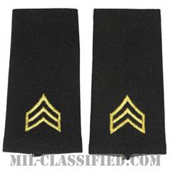 軍曹(Sergeant (SGT))[ブラック/ショルダー階級章/ロングサイズ肩章/ペア(2枚1組)]の画像