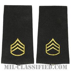 二等軍曹(Staff Sergeant (SSG))[ブラック/ショルダー階級章/ロングサイズ肩章/ペア(2枚1組)]の画像