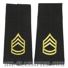 一等軍曹(Sergeant First Class (SFC))[ブラック/ショルダー階級章/ロングサイズ肩章/ペア(2枚1組)]の画像