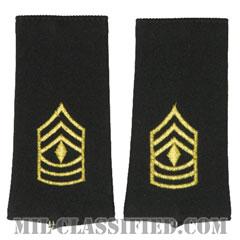 先任曹長(First Sergeant (1SG))[ブラック/ショルダー階級章/ロングサイズ肩章/ペア(2枚1組)]の画像