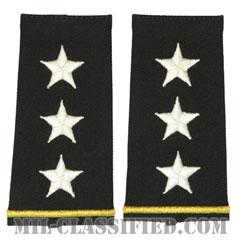 中将(Lieutenant General (LTG))[ブラック/ショルダー階級章/ロングサイズ肩章/ペア(2枚1組)]の画像