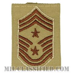 部隊先任最上級曹長(Command Chief Master Sergeant)[デザート(Desert)/ゴアテックスパーカー用スライドオン空軍階級章]の画像