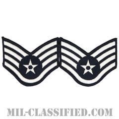 軍曹(Staff Sergeant)[カラー/メロウエッジ/空軍階級章(1991-)/Large(男性用)/パッチ/ペア(2枚1組)]の画像
