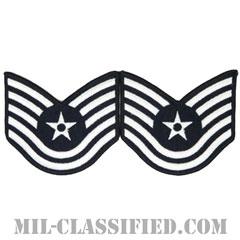 技能軍曹(Technical Sergeant)[カラー/メロウエッジ/空軍階級章(1991-)/Large(男性用)/パッチ/ペア(2枚1組)]画像