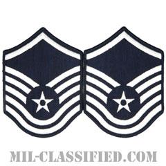 曹長(Master Sergeant)[カラー/メロウエッジ/空軍階級章(1991-)/Large(男性用)/パッチ/ペア(2枚1組)]の画像