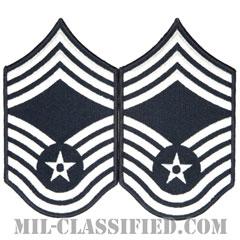最上級曹長(Chief Master Sergeant)[カラー/メロウエッジ/空軍階級章(1991-)/Large(男性用)/パッチ/ペア(2枚1組)]の画像