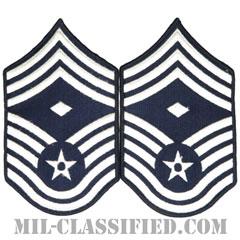 先任最上級曹長(First Sergeant (E-9))[カラー/メロウエッジ/空軍階級章(1991-)/Large(男性用)/パッチ/ペア(2枚1組)]の画像