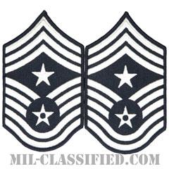 部隊先任最上級曹長(Command Chief Master Sergeant)[カラー/メロウエッジ/空軍階級章(1998-)/Large(男性用)/パッチ/ペア(2枚1組)]の画像