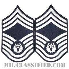 空軍最先任上級曹長(CMSAF)[カラー/メロウエッジ/空軍階級章(1991-2004)/Large(男性用)/パッチ/ペア(2枚1組)]の画像