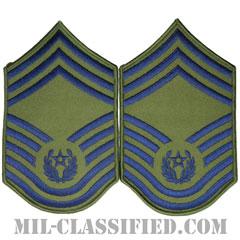 空軍最先任上級曹長(CMSAF)[サブデュード/メロウエッジ/空軍階級章(1991-2004)/Large(男性用)/パッチ/ペア(2枚1組)]の画像