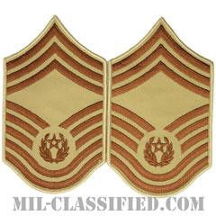空軍最先任上級曹長(CMSAF)[デザート/メロウエッジ/空軍階級章(1991-2004)/Large(男性用)/パッチ/ペア(2枚1組)]の画像