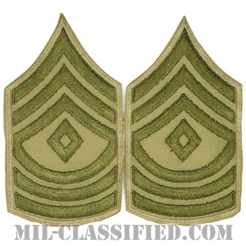 先任曹長(First Sergeant)[ツイル生地刺繍タイプ/カーキ/カットエッジ/階級章(1942-1948)/パッチ/ペア2枚1組]の画像